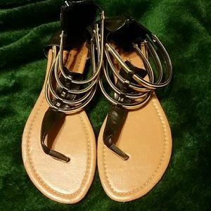 Black and Silver Chatties Sandals